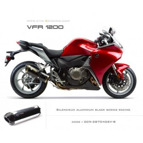 Echappement M2 en aluminium poli option black séries Honda VFR1200