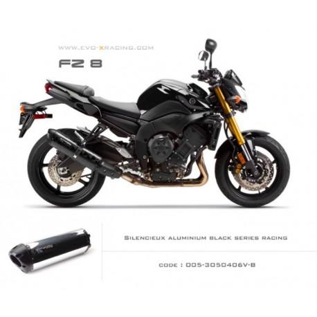 Ligne complète échappement M2 en aluminium poli option black séries Yamaha fz8
