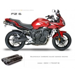 Double échappement M2 en carbone option black séries Yamaha fz6