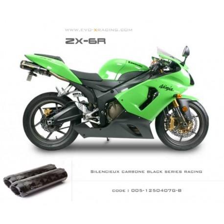 Echappement M2 en carbone option black séries Kawasaki ZX6R