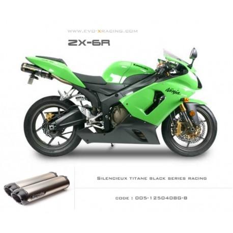 Double échappement M2 aluminium option black séries Kawasaki ZX6R