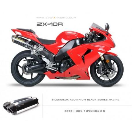 Double échappement M2 en aluminium option black séries Kawasaki ZX 10 R