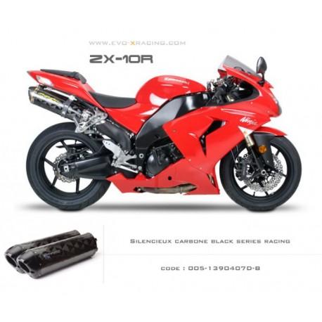 Double échappement M2 en carbone option black séries Kawasaki ZX 10 R