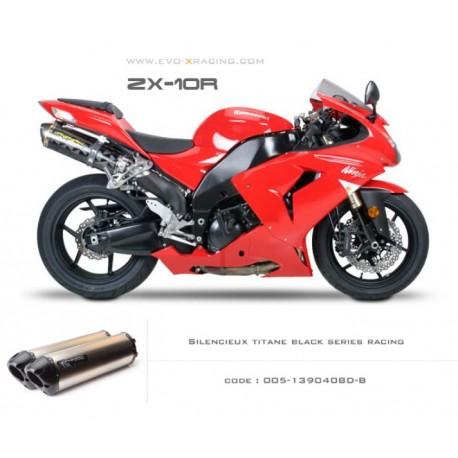 Double échappement M2 en titane option black séries Kawasaki ZX 10 R