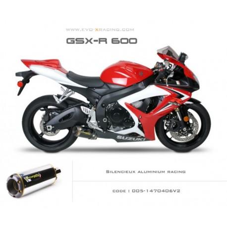 Ligne complète échappement M2 en aluminium Suzuki GSXR600 750