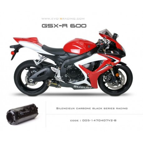 Echappement M2 en carbone option black séries Suzuki GSXR600 750