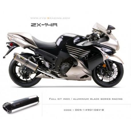 Ligne complète échappement M2 en aluminium poli option black séries Kawasaki ZZR1400