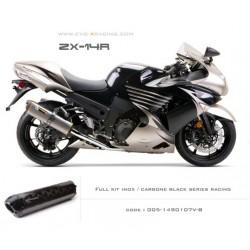 Ligne complète échappement M2 en carbone option black séries Kawasaki ZZR1400
