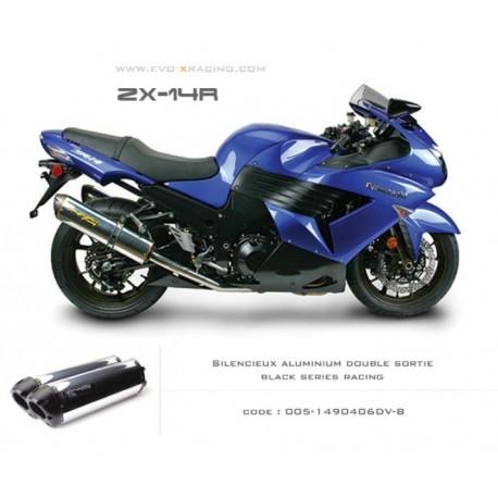 Double échappement M2 en aluminium poli option black séries Kawasaki ZZR1400