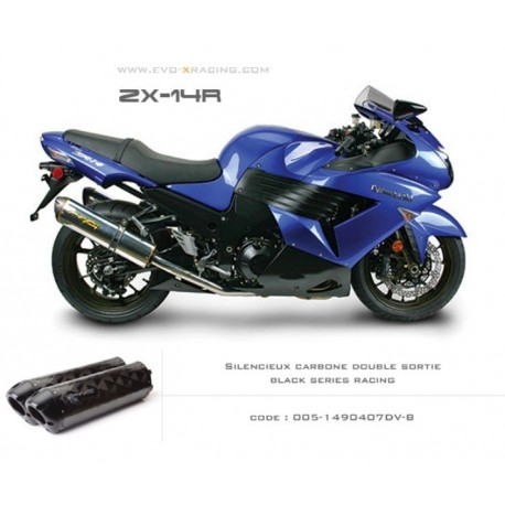 Double échappement M2 en carbone option black séries Kawasaki ZZR1400