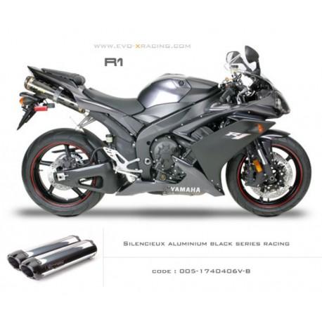 Double échappement M2 en aluminium option black séries Yamaha R1