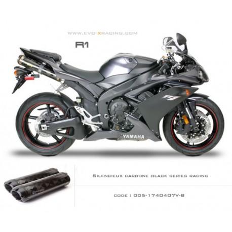 Double échappement M2 en carbone option black séries Yamaha R1