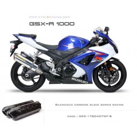 Double échappement M2 en carbone option black séries Suzuki GSXR1000