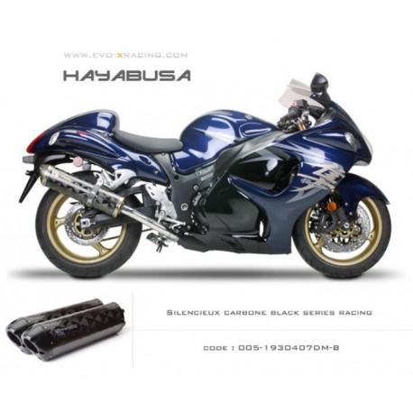 Double échappement M2 en carbone option black séries Suzuki Hayabusa