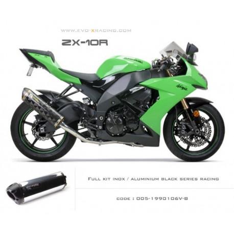 Ligne complète échappement M2 en aluminium option black séries Kawasaki ZX 10 R