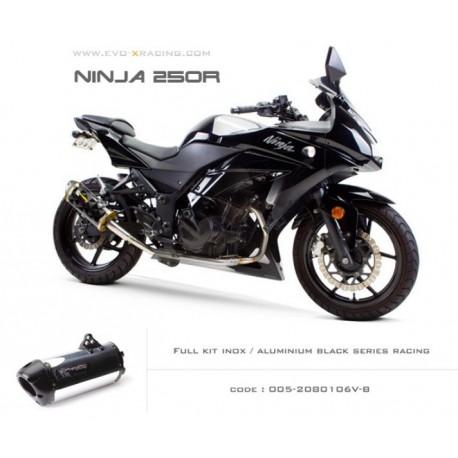 Ligne complète échappement M2 en aluminium option black séries Kawasaki Ninja250300