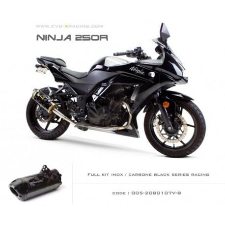Ligne complète échappement M2 en carbone option black séries Kawasaki Ninja250300
