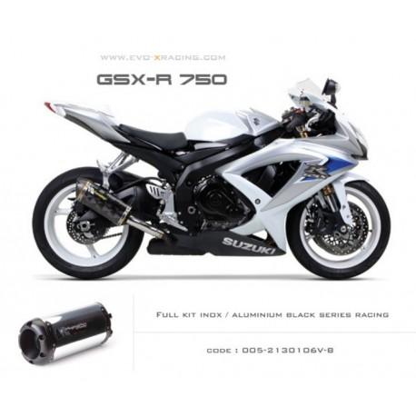 Ligne complète échappement M2 en aluminium option black séries Suzuki GSXR600 750