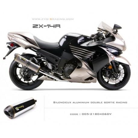 Double échappement M2 en aluminium poli Kawasaki ZZR1400