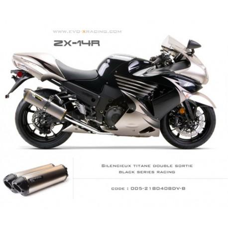 Double échappement M2 en titane option black séries Kawasaki ZZR1400