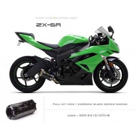 Ligne complète échappement M2 en carbone option black séries Kawasaki ZX6R