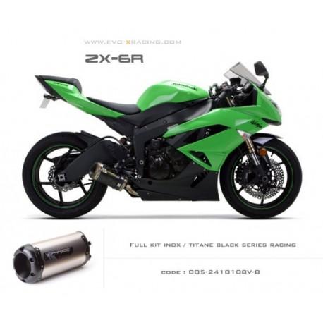 Ligne complète échappement M2 en titane option black séries Kawasaki ZX6R