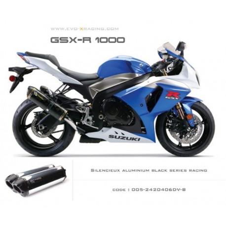 Double échappement M2 en aluminium option black séries Suzuki GSXR1000