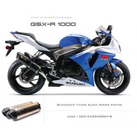 Double échappement M2 en titane option black séries Suzuki GSXR1000