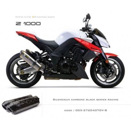 Double échappement M2 en carbone option black séries Kawasaki Z1000